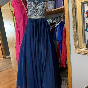 Tiffany Designs Dresses - NAVY BEADED BALLGOWN